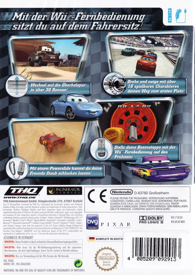 Disney•Pixar Cars Wii Back Cover