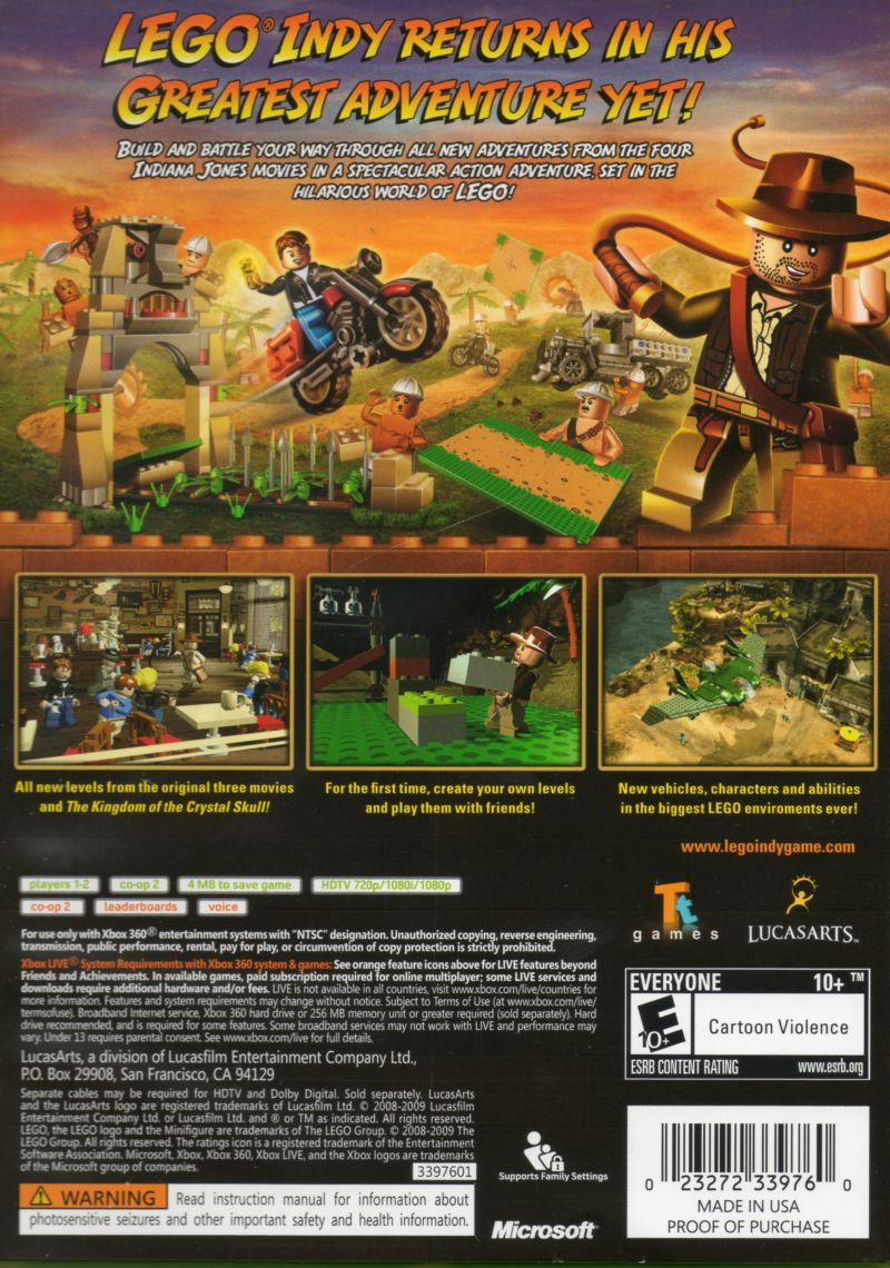 LEGO Indiana Jones 2: The Adventure Continues  Xbox 360 Back Cover