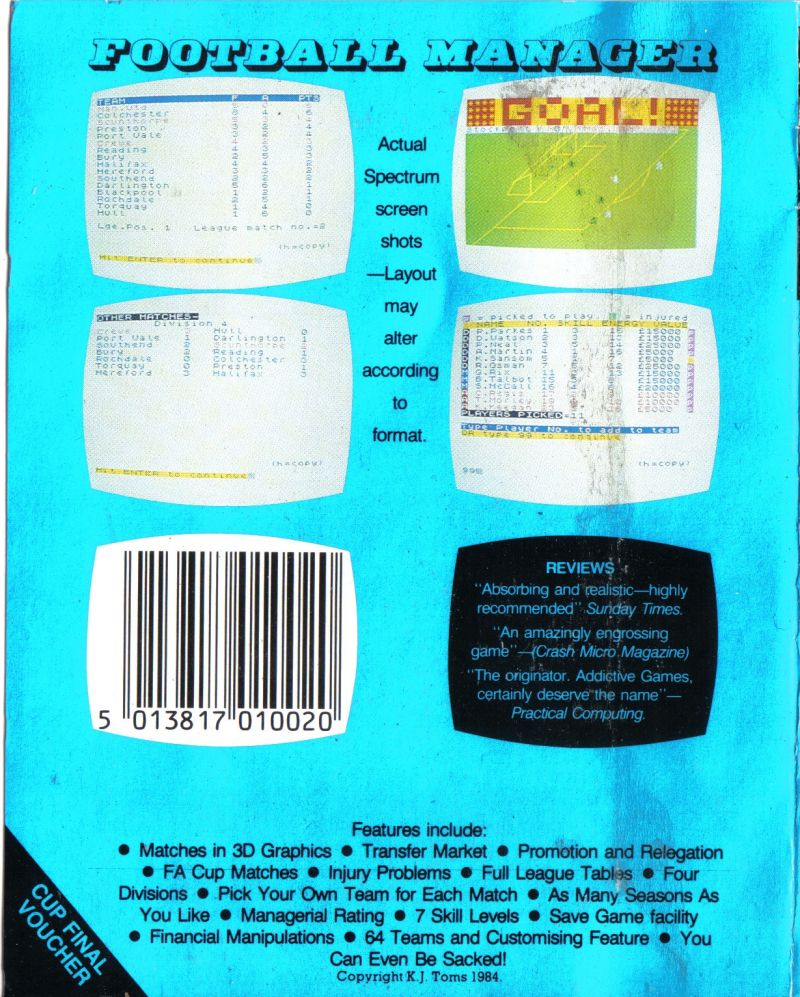 Football Manager Commodore 64 Back Cover