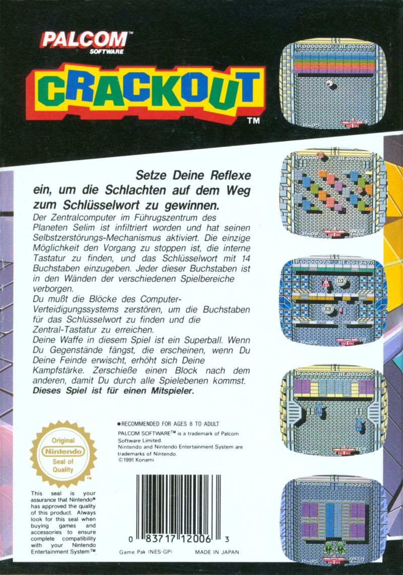 Crackout NES Back Cover