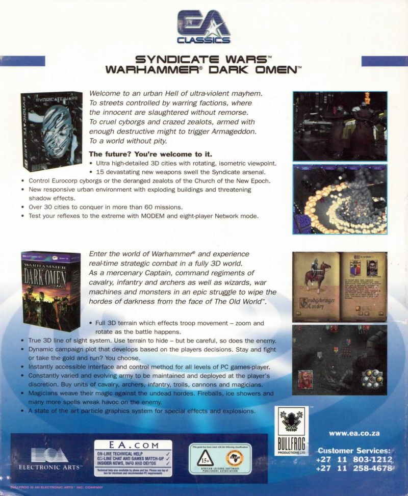 Syndicate Wars + Warhammer: Dark Omen Windows Back Cover