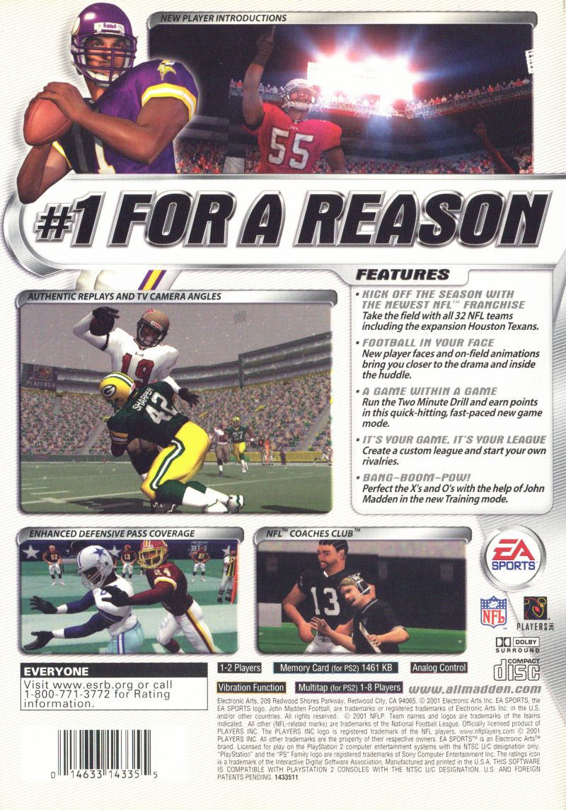 an analysis of the game madden nfl 2001 Since 2000 (madden 2001), ea sports has gone with a star player on the cover of its popular football video game – instead of hall of fame coach and the game's namesake john madden (yes, yes we .
