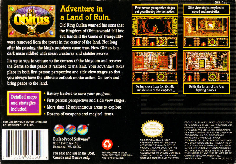 Obitus SNES Back Cover