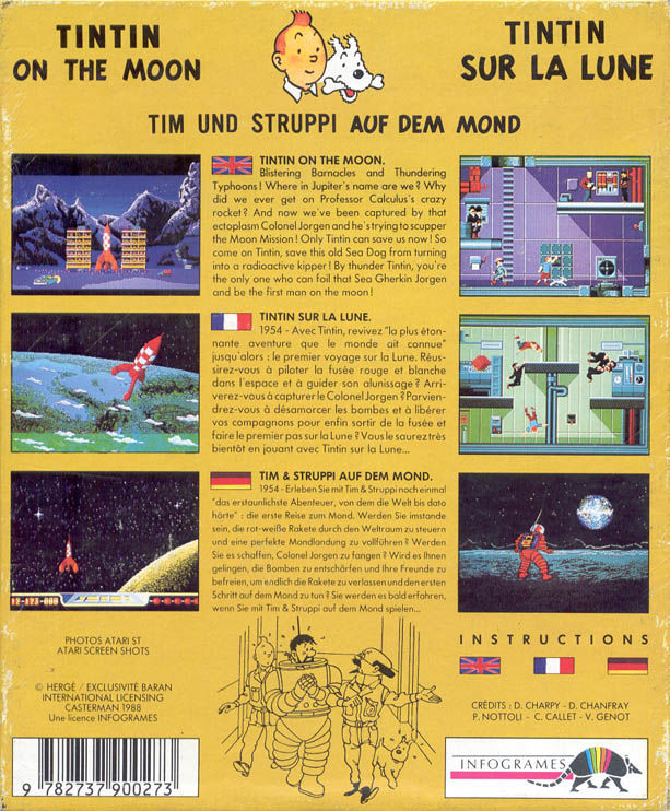Tintin on the Moon Atari ST Back Cover