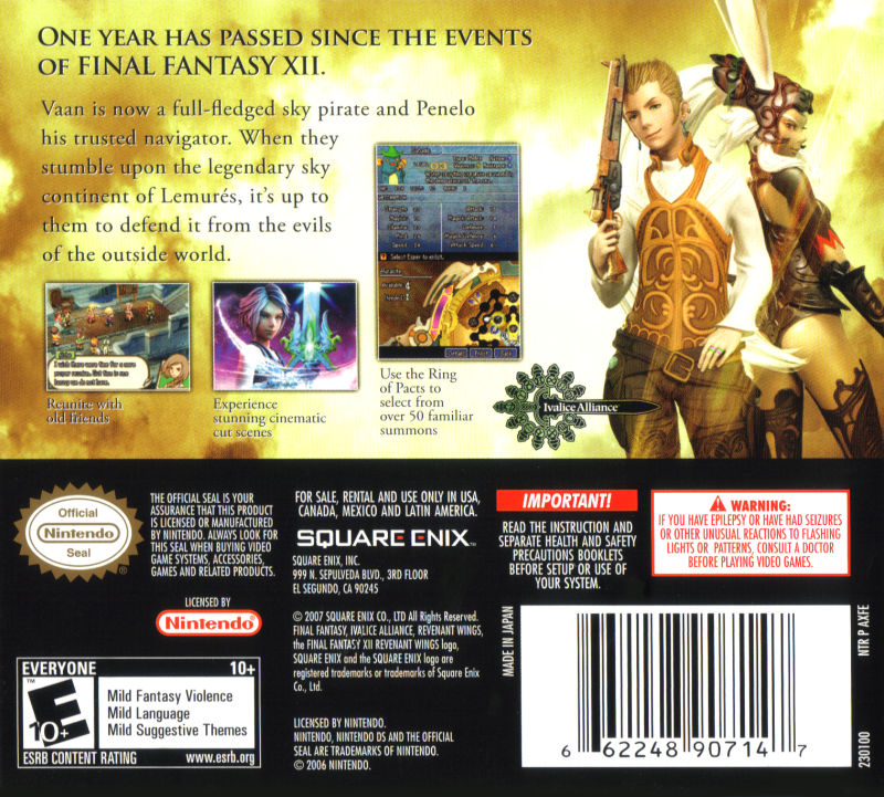 Final Fantasy XII: Revenant Wings (2007) Nintendo DS box ...