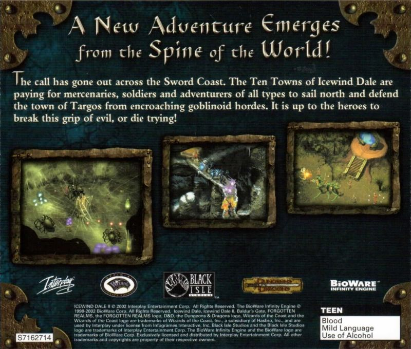 Icewind Dale II Windows Other Jewel Case - Back Cover