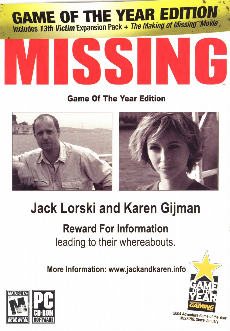 Missing: Game of the Year Edition Windows Front Cover