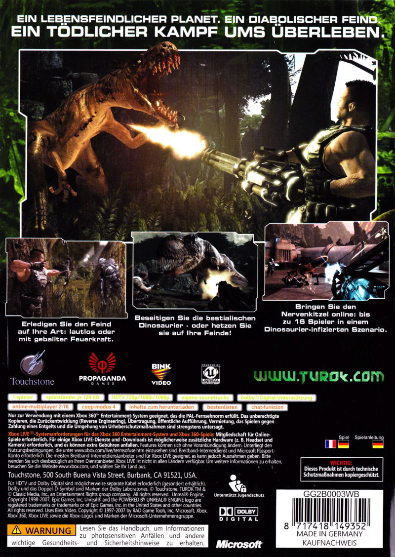 Xbox 360 Game Cover Back Turok (2008) PlayStati...