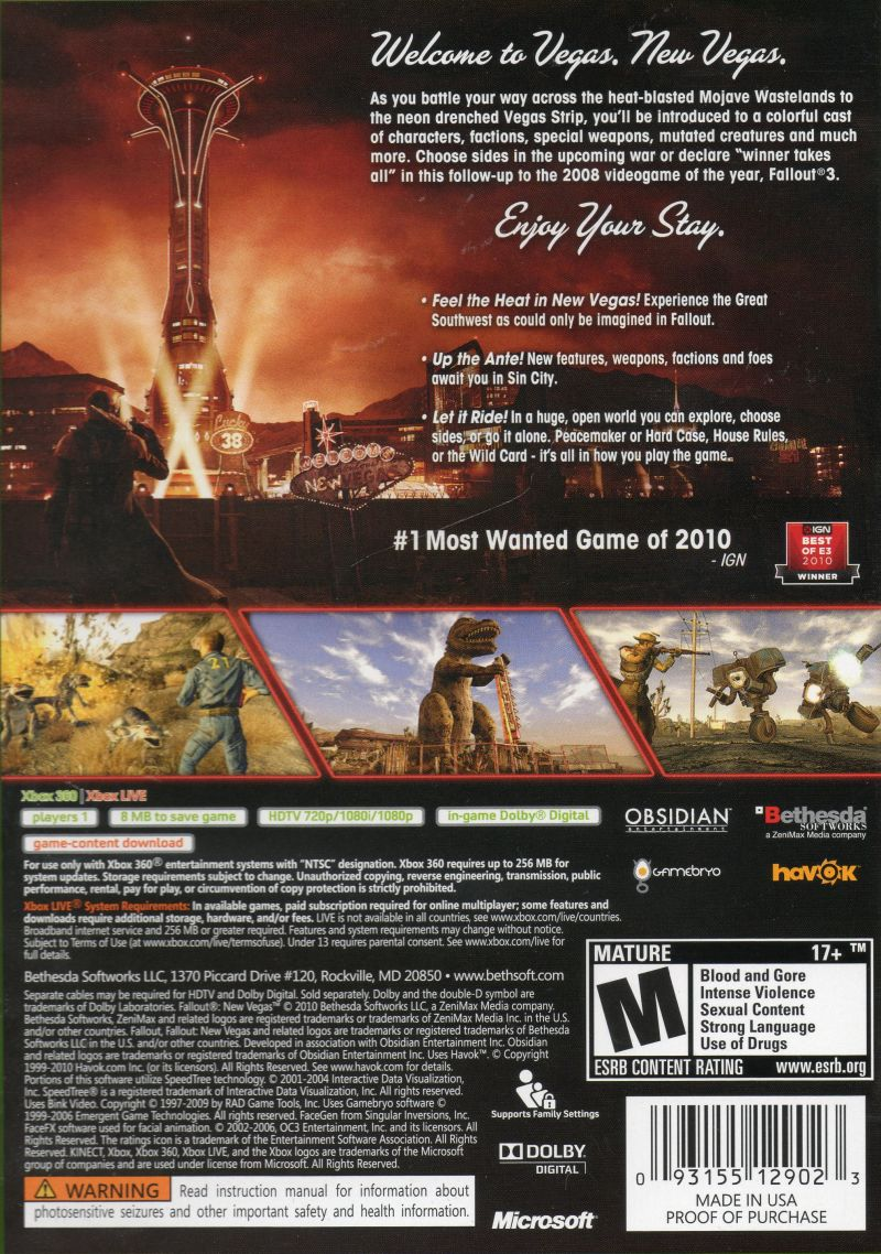 Fallout: New Vegas (Collector's Edition) Xbox 360 Other Keep Case - Back