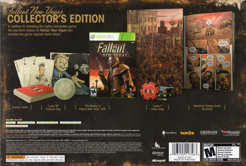 Fallout: New Vegas (Collector's Edition) Xbox 360 Back Cover