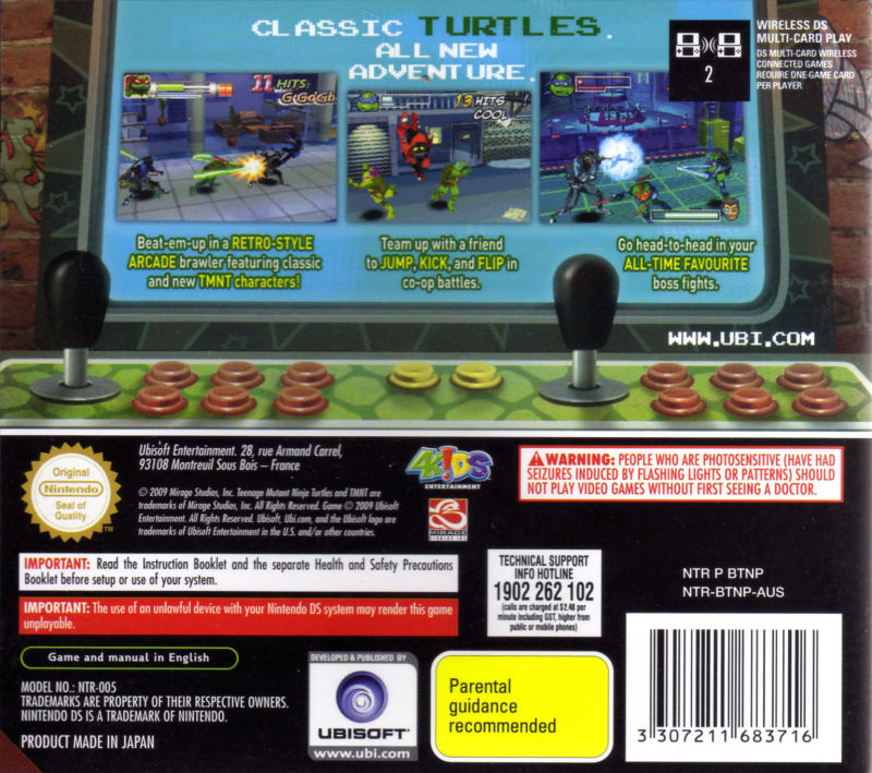 Teenage Mutant Ninja Turtles: Arcade Attack (2009) Nintendo DS box