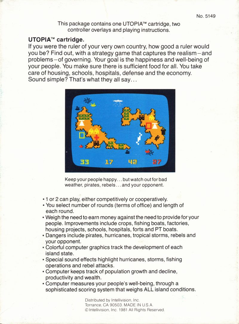 Utopia Intellivision Back Cover