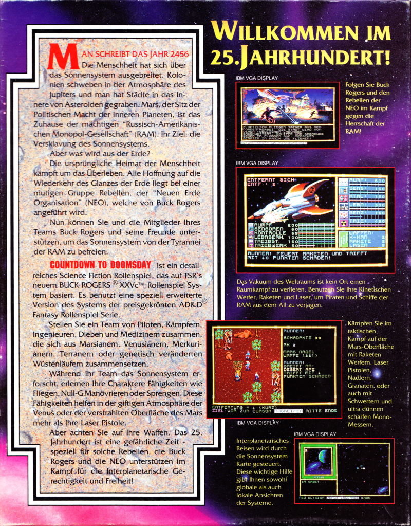 Buck Rogers: Countdown to Doomsday DOS Back Cover