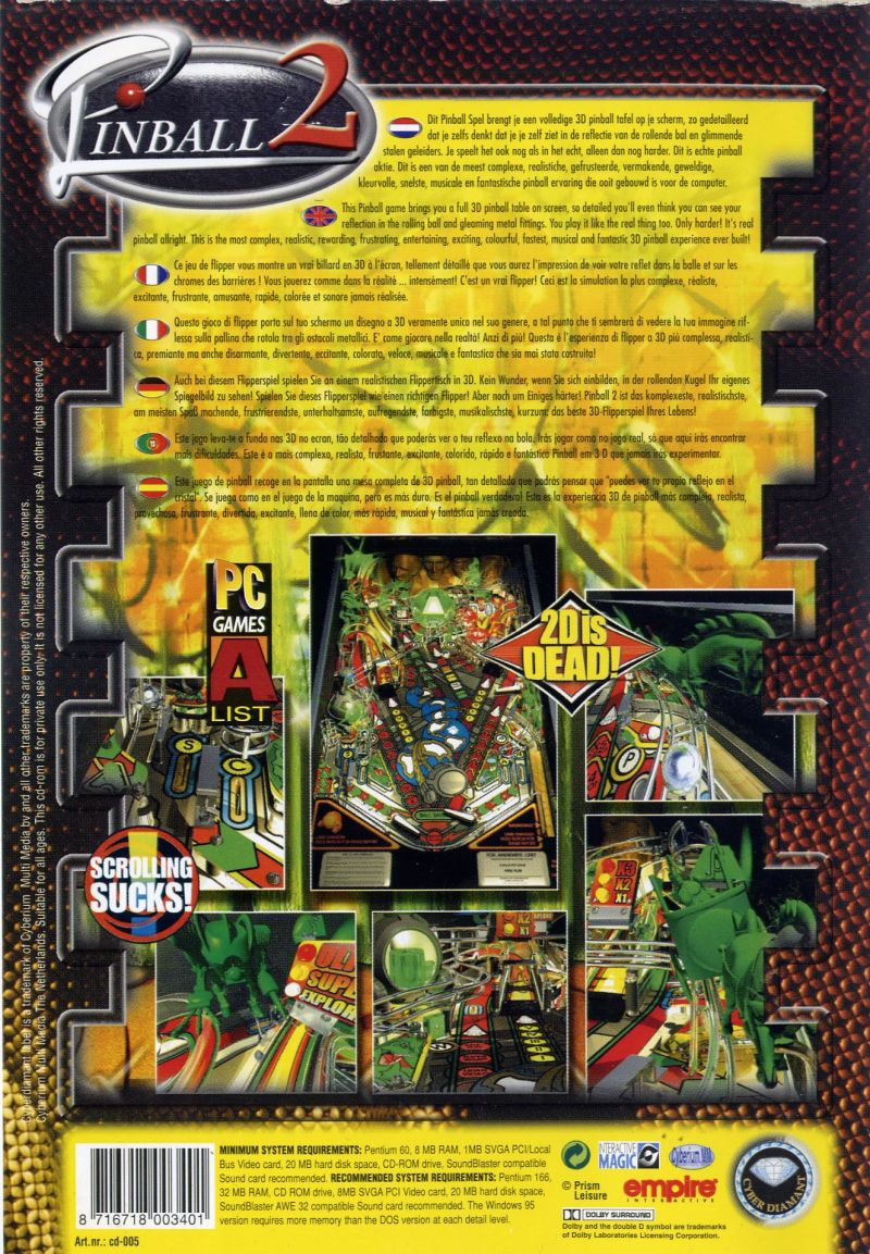 Pro Pinball: Timeshock! (1997) Windows box cover art - MobyGames