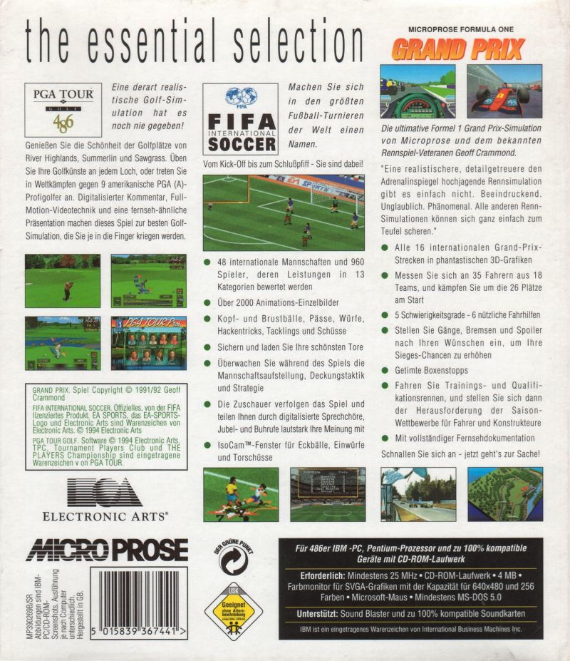 The Essential Selection Sport 1995 Dos Box Cover Art