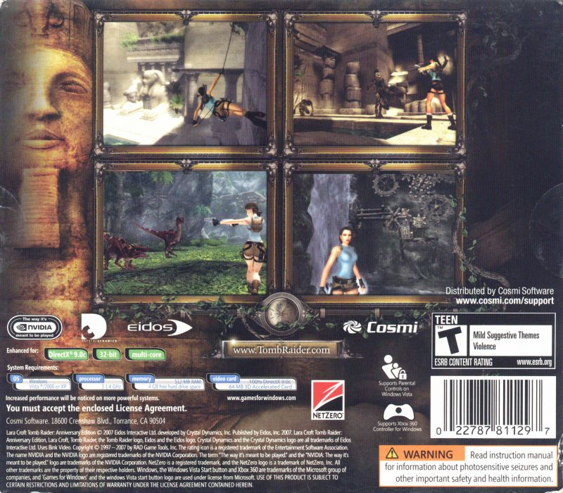 Lara Croft: Tomb Raider - Anniversary Windows Back Cover