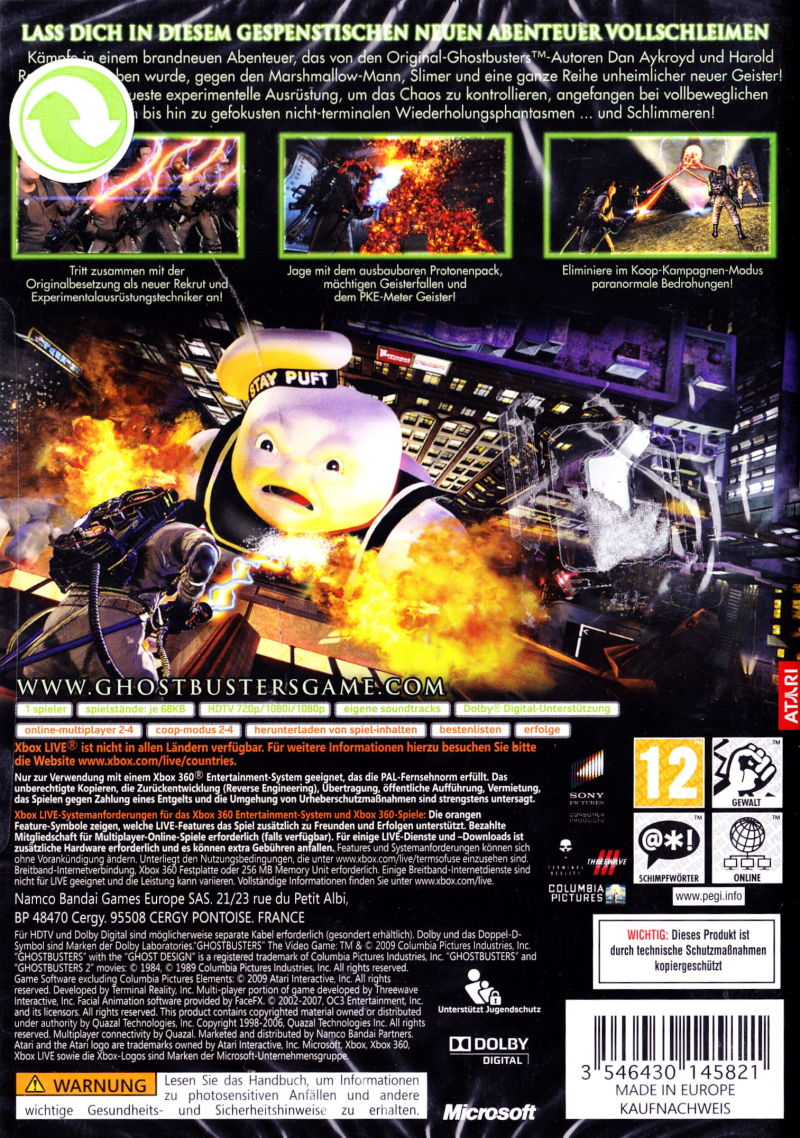 Xbox 360 Game Cover Back Ghostbusters: The Vide...