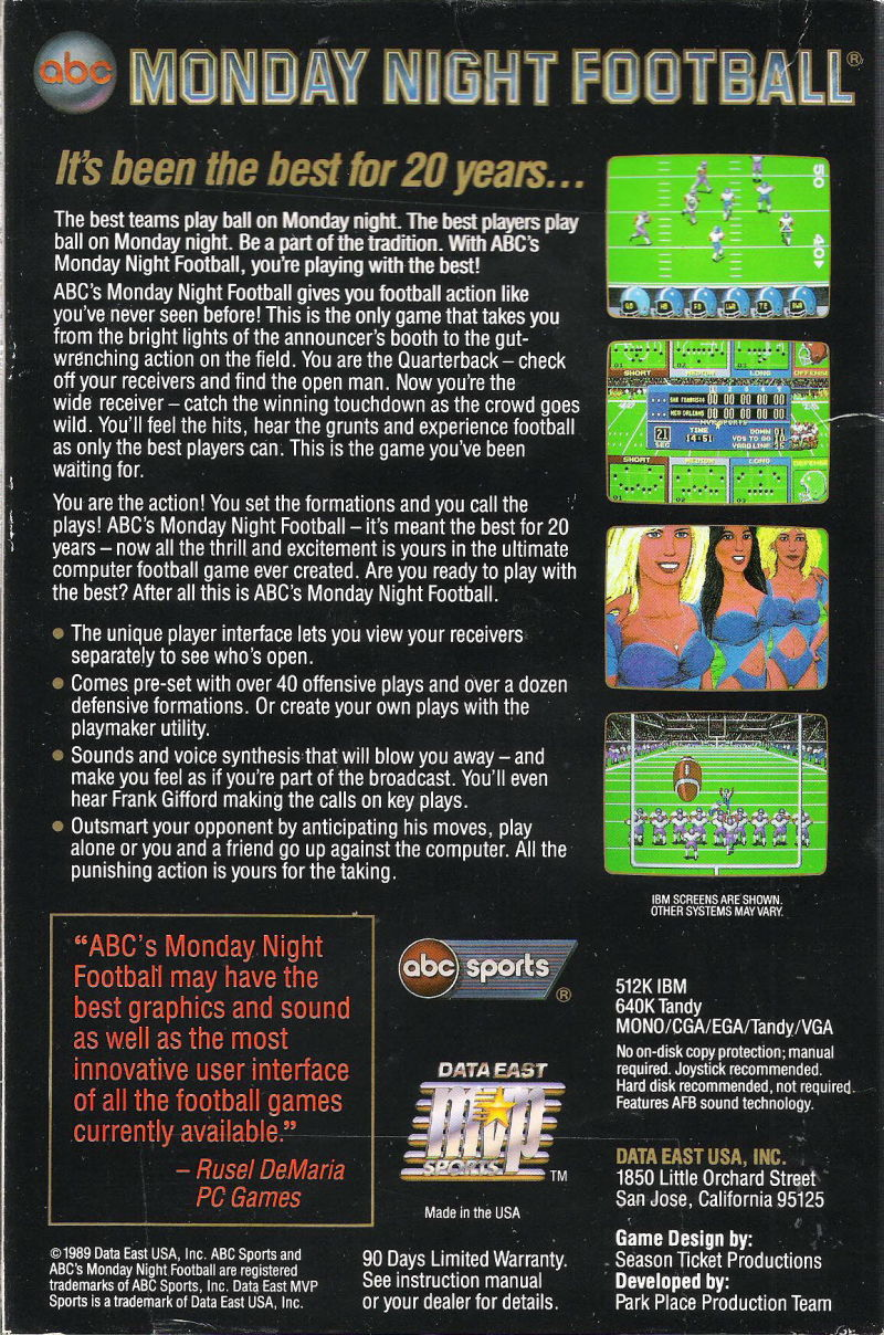 ABC Monday Night Football DOS Back Cover