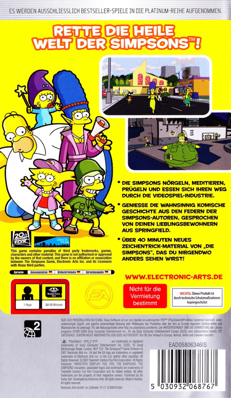 The Simpsons Game PSP Back Cover