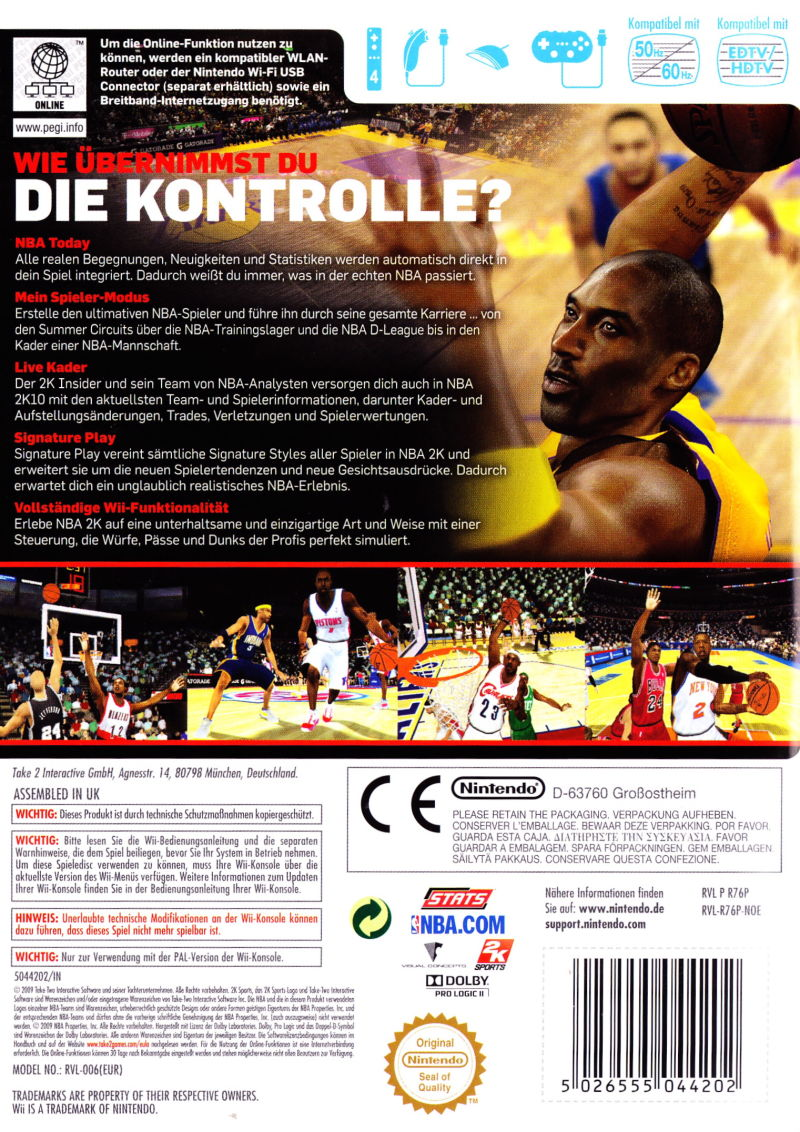 NBA 2K10 Wii Back Cover