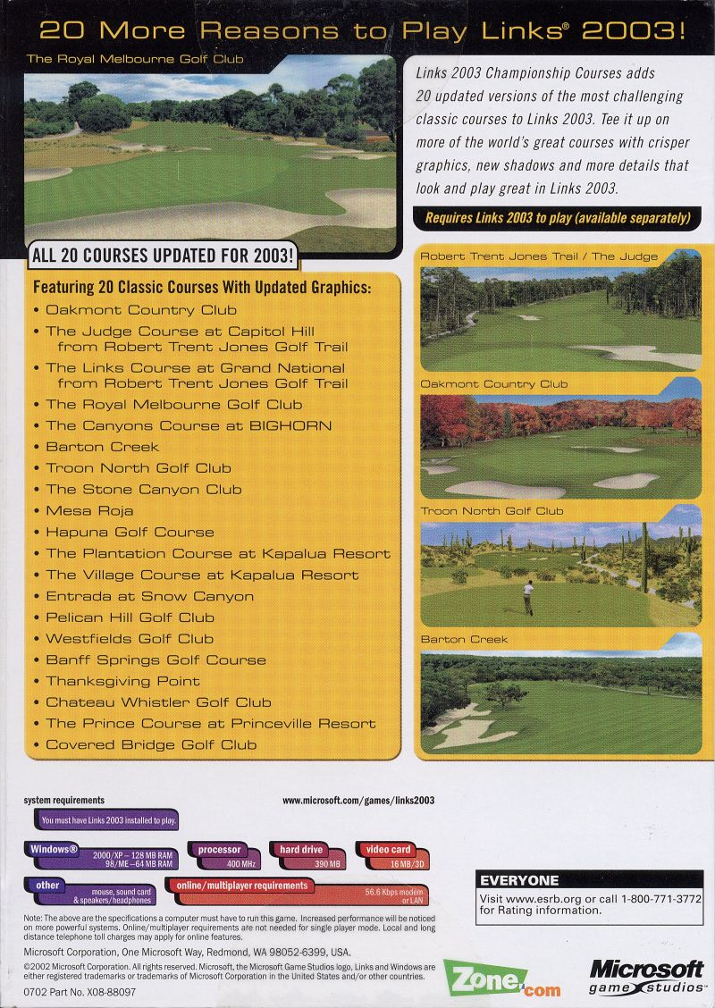 Links 2003: Championship Courses Windows Back Cover