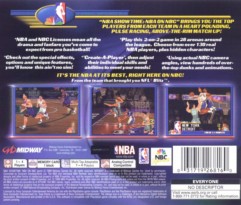 NBA Showtime: NBA on NBC PlayStation Back Cover