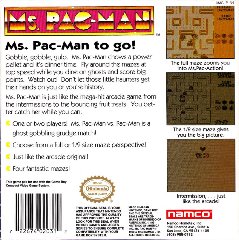 Ms. Pac-Man Game Boy Back Cover