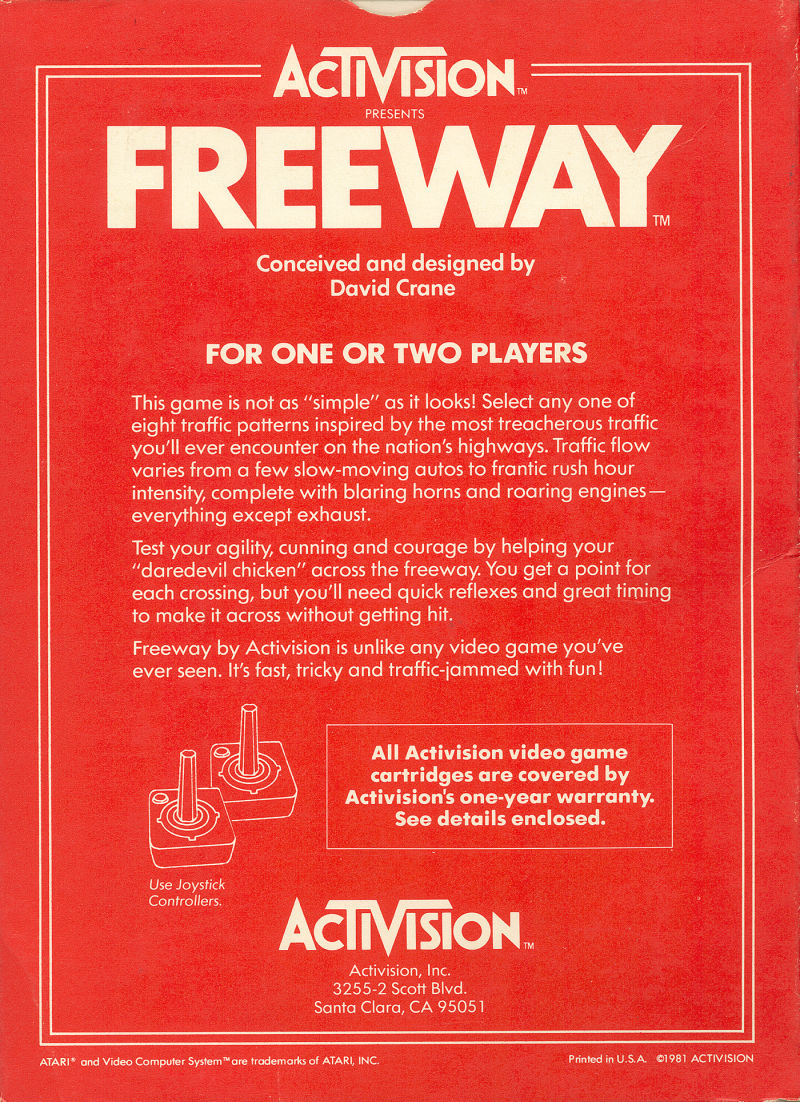 Freeway Atari 2600 Back Cover