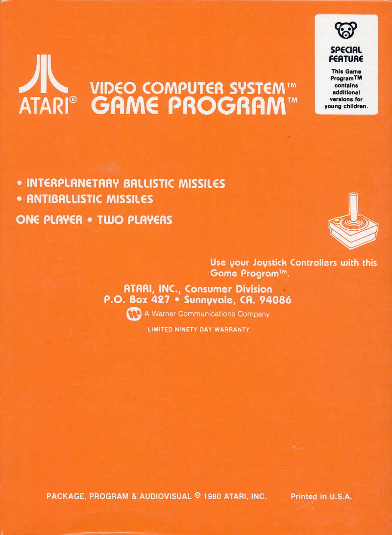 Missile Command Atari 2600 Back Cover