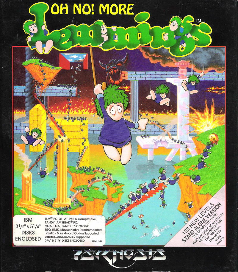 Oh No! More Lemmings DOS Front Cover