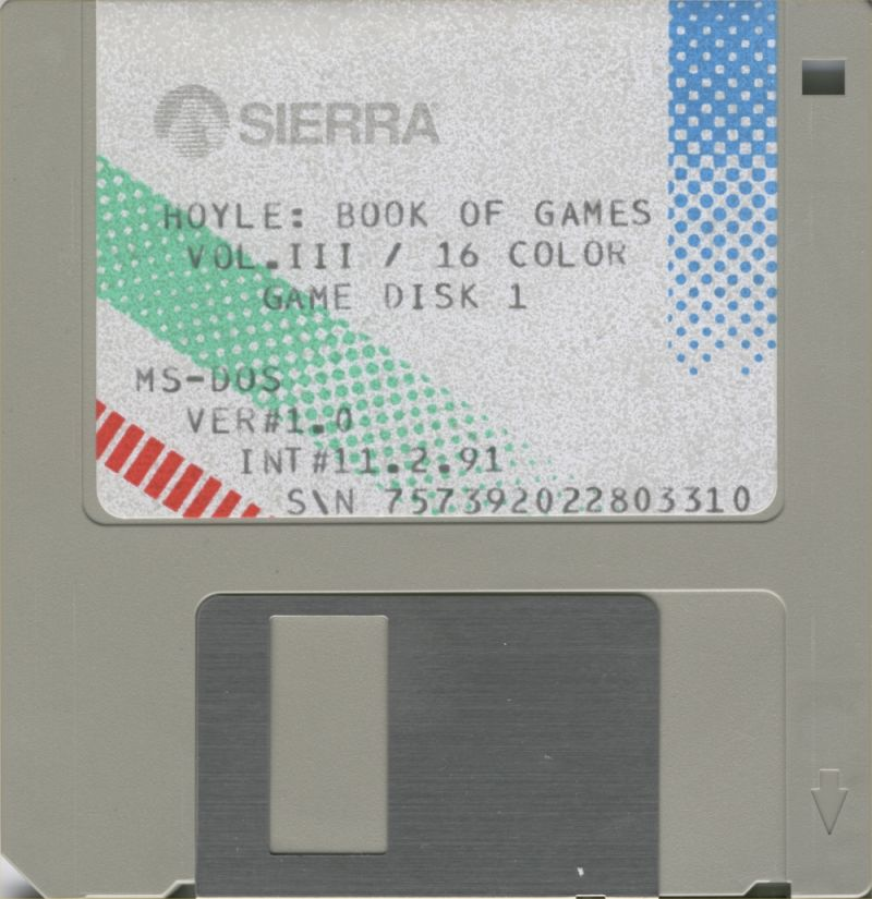 Hoyle: Official Book of Games - Volume 3 DOS Media 16 Colors Game Disk