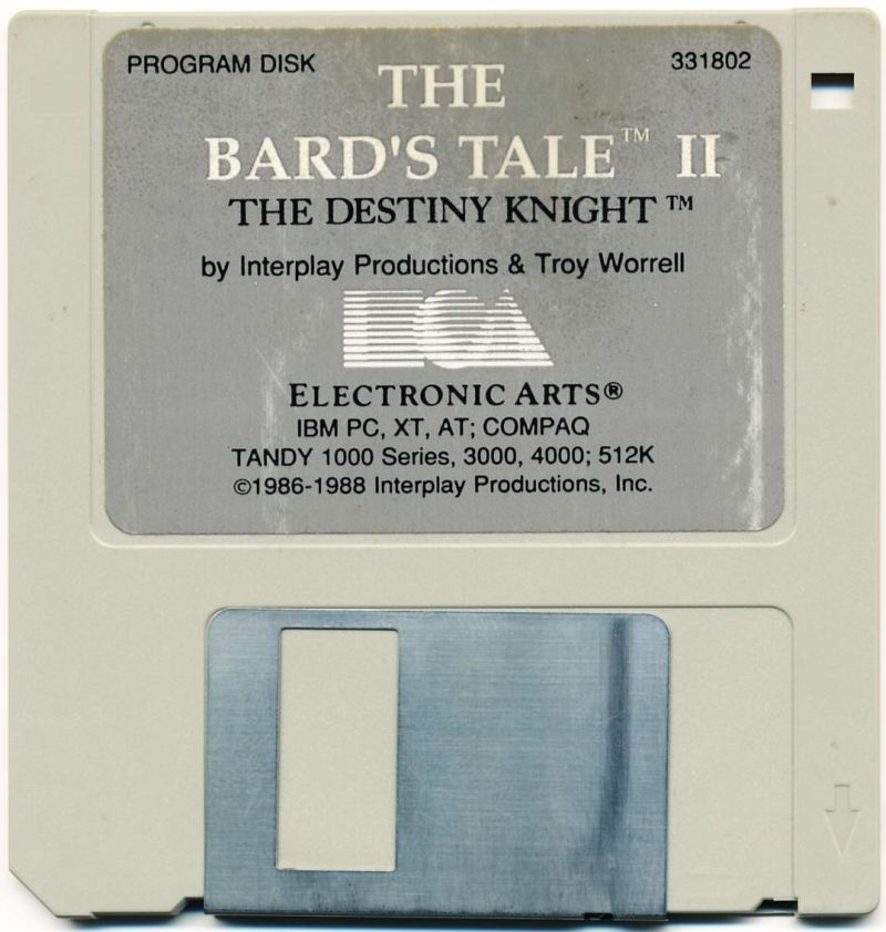 "The Bard's Tale II: The Destiny Knight DOS Media 3.5"" FD - Program Disk"