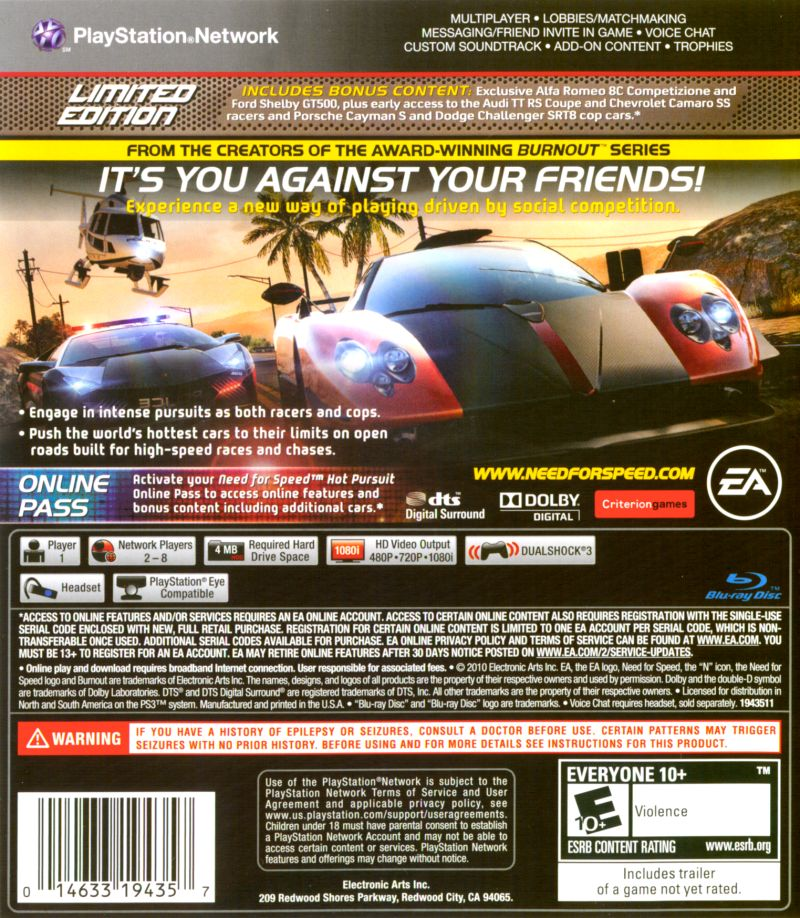 Need for Speed: Hot Pursuit (Limited Edition) PlayStation 3 Back Cover