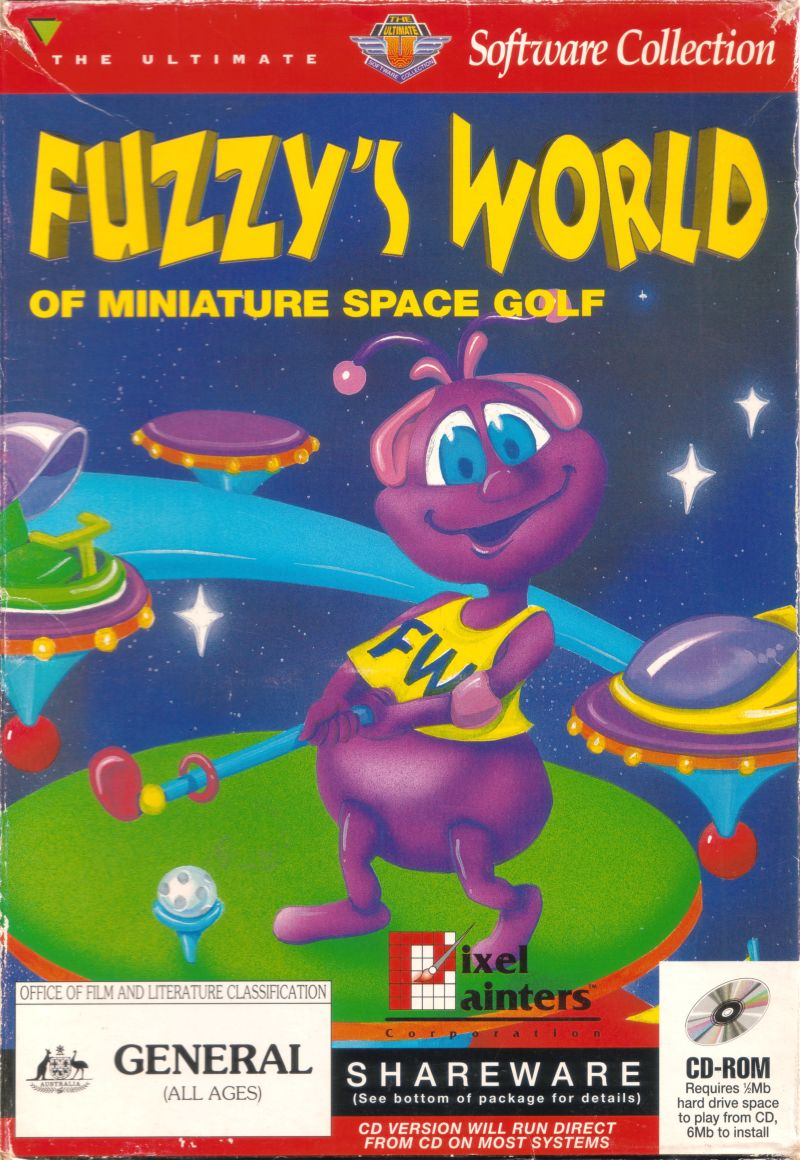 Fuzzy's World of Miniature Space Golf DOS Front Cover