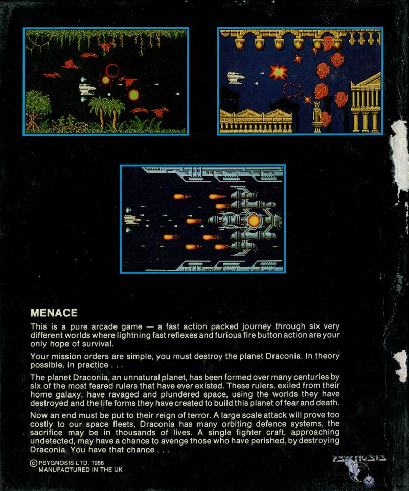 Menace Amiga Back Cover