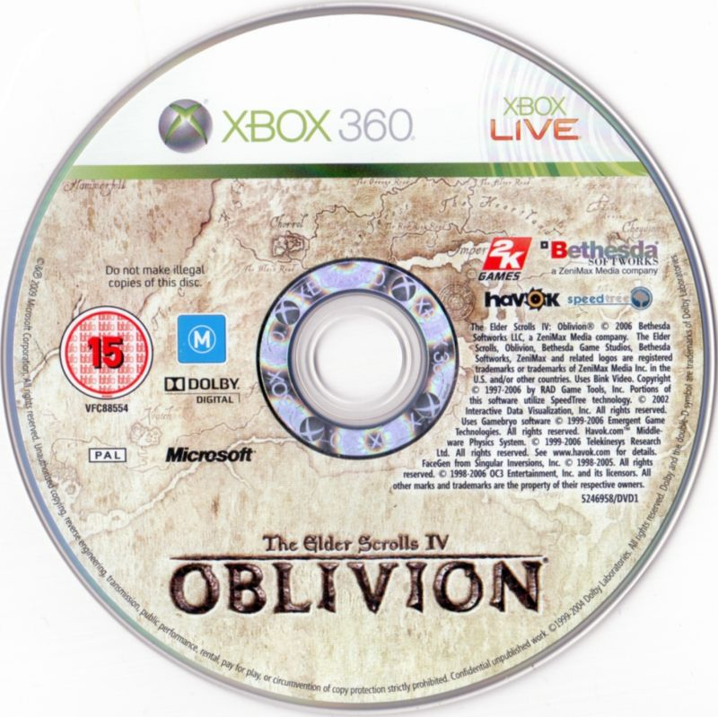 BioShock & The Elder Scrolls IV: Oblivion Bundle Xbox 360 Media Oblivion Disc