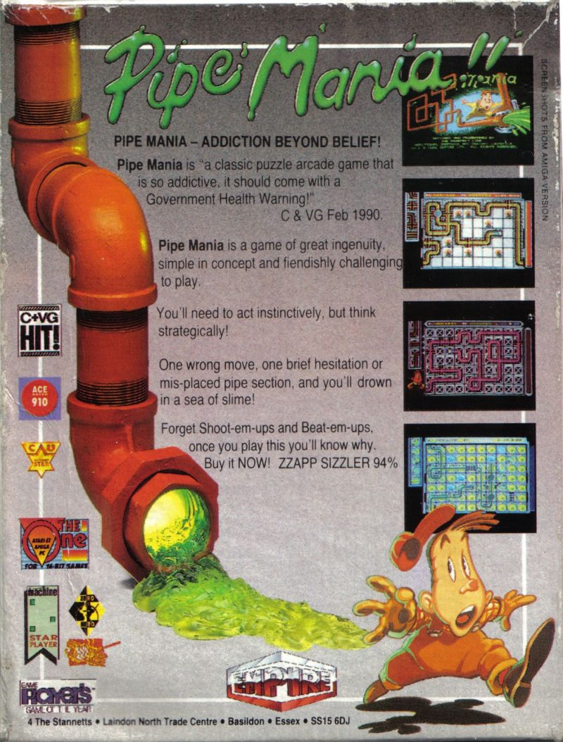 Pipe Dream Amstrad CPC Back Cover