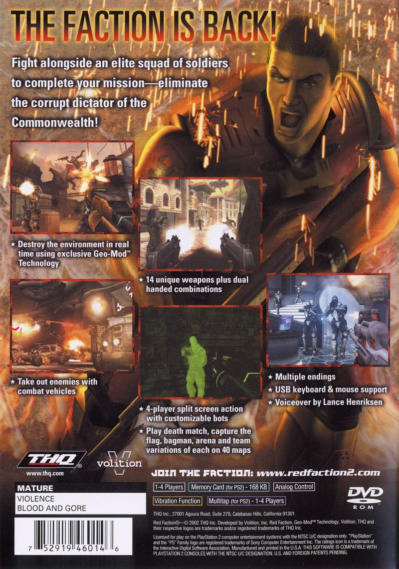 Red Faction II PlayStation 2 Back Cover