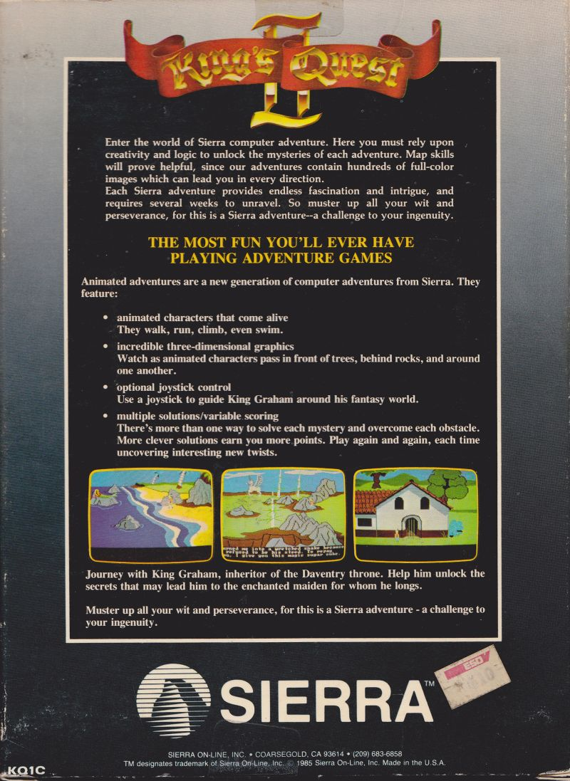 King's Quest II: Romancing the Throne Apple II Back Cover