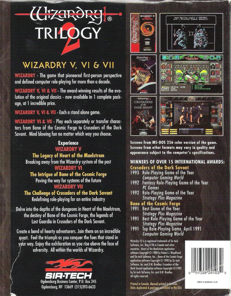 Wizardry Trilogy 2 DOS Back Cover