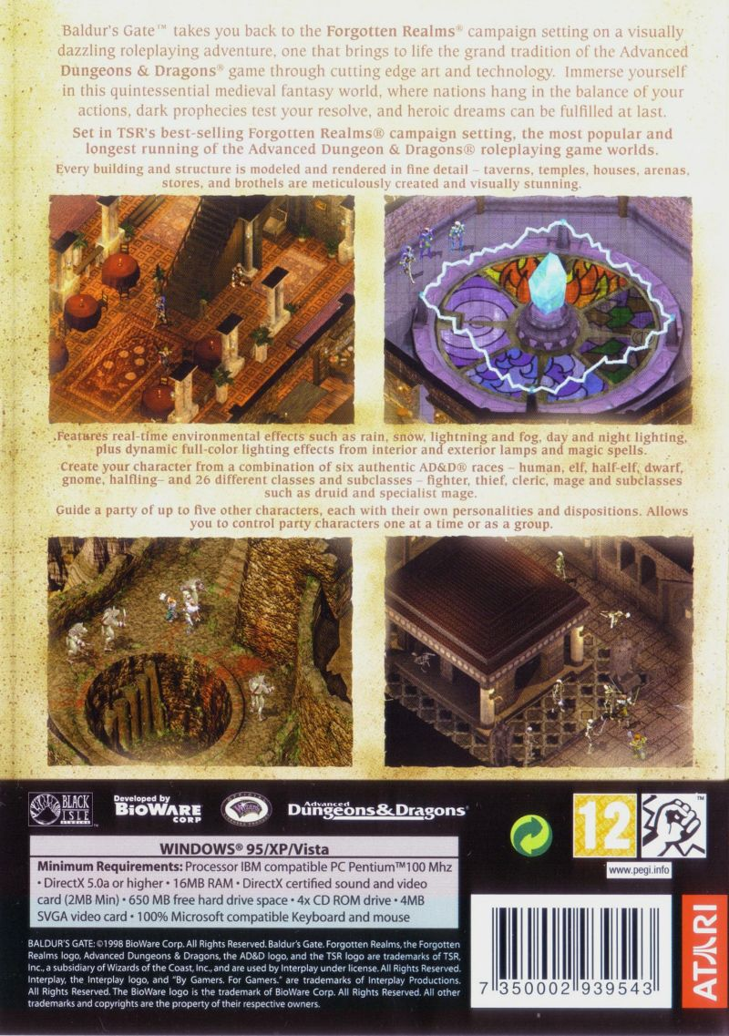 Baldur's Gate Windows Back Cover