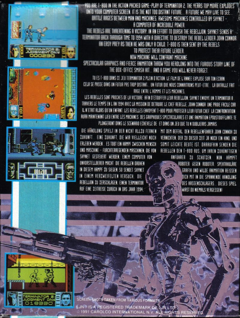 Terminator 2: Judgment Day ZX Spectrum Back Cover