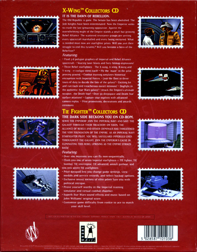 X-Wing Collector's CD-ROM @ Tie Fighter Collector's CD-ROM DOS Back Cover