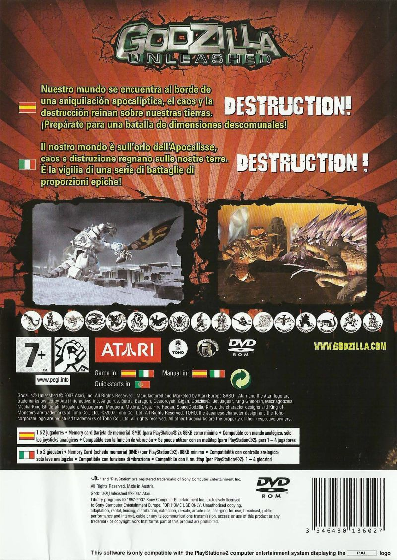 Godzilla: Unleashed PlayStation 2 Back Cover