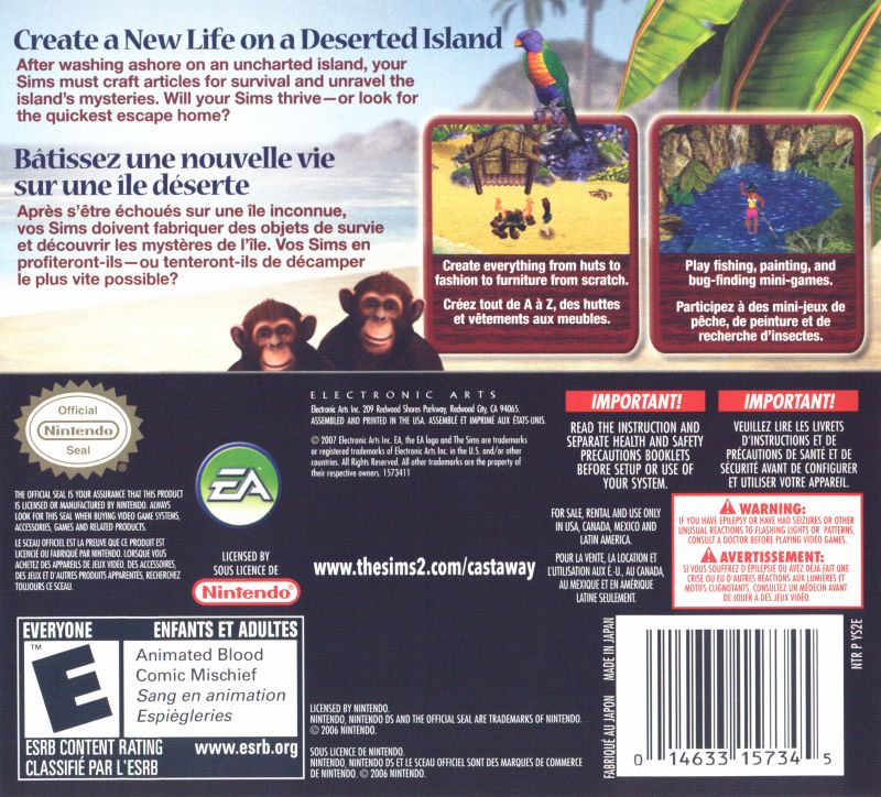 The Sims 2: Castaway Nintendo DS Back Cover