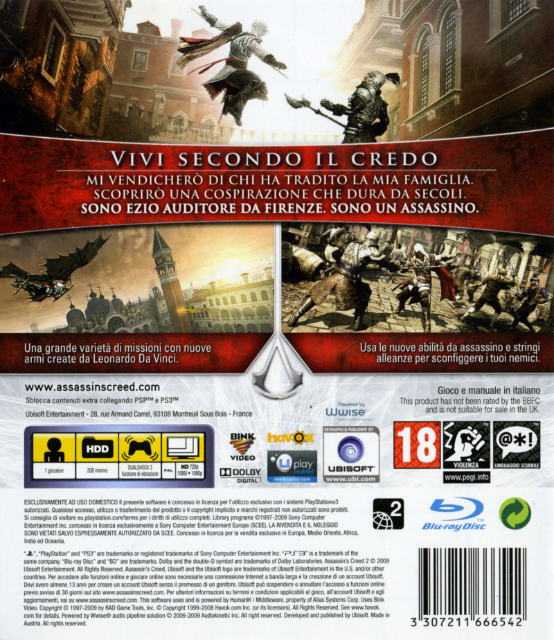 Assassin's Creed II (2009) PlayStation 3 box cover art ...