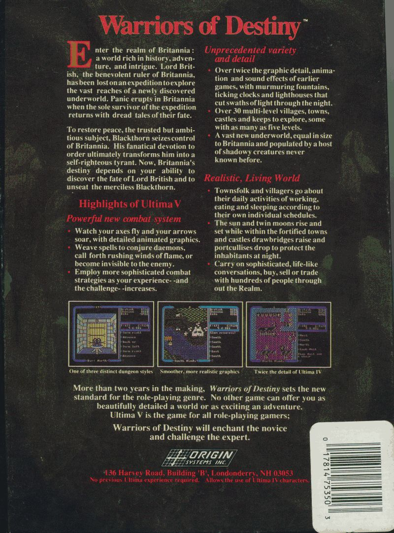 Ultima V: Warriors of Destiny Apple II Back Cover