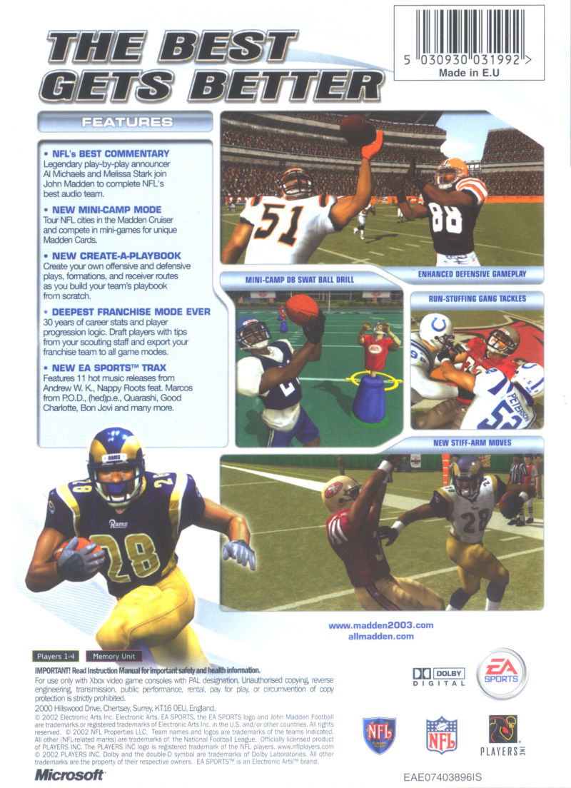 Madden NFL 2003 Xbox Back Cover