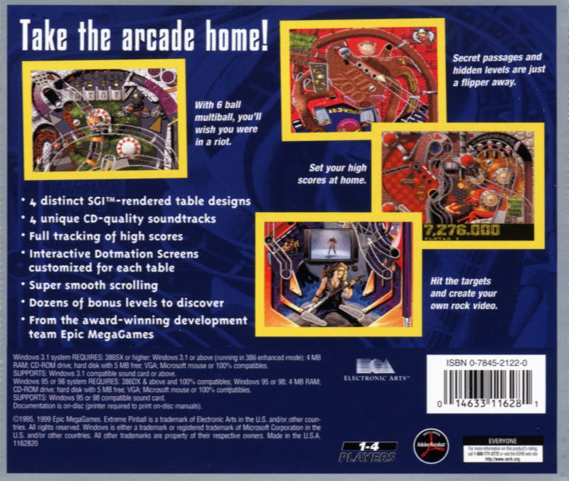Extreme Pinball DOS Back Cover