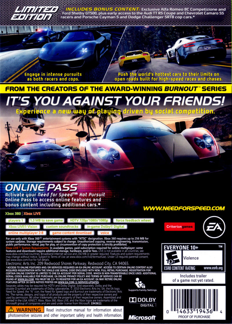 Need For Speed Hot Pursuit Limited Edition 2010 Xbox 360 Box